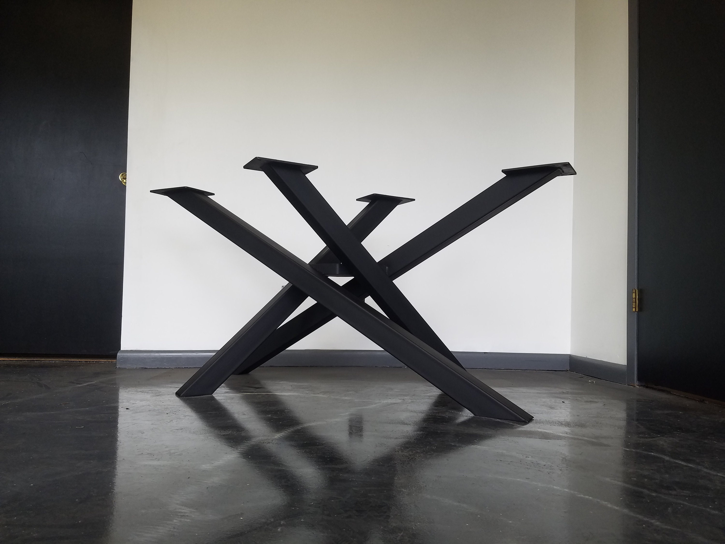 Criss Cross Style Metal Table Base Any Size Color