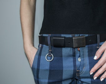 Leather Belt with Distressed Silver Plate Buckle