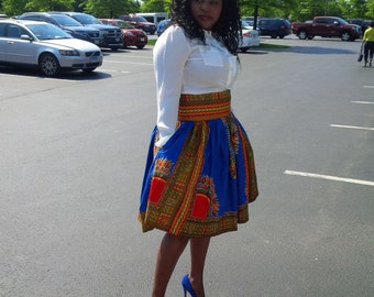 High Waisted full circle skirt in Dashiki print( sizes 2 to 12)