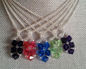 Small Crystal Pendant Necklace, Dainty Necklace, Simple Necklace, Crystal Necklace, Bridesmaids Necklace, Blue,Pink,Purple, Green, Swarovski