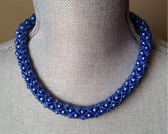 Blue, Tubular Netted, Necklace, Cobalt, Royal, Netted Necklace, Rope Necklace, Bridesmaids, Prom, Necklace,Statement, Formal, Filled Netting