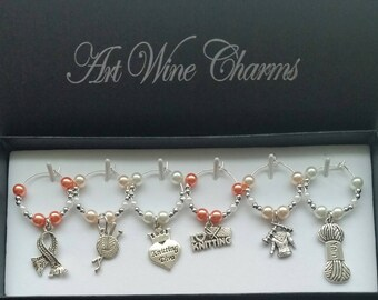 6 Knitting themed Wine Charms, Knitter, Themed Party, Party Favors, Thank You, Gift, Knitters, Wineglass, Markers, Beaded, Stemware