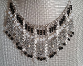 Silver and Black, Fringe Necklace, Bib, Necklace, Aluminum, Statement, Prom, Formal, Bridesmaids, Chain, Birthday, Gift, Black and Silver
