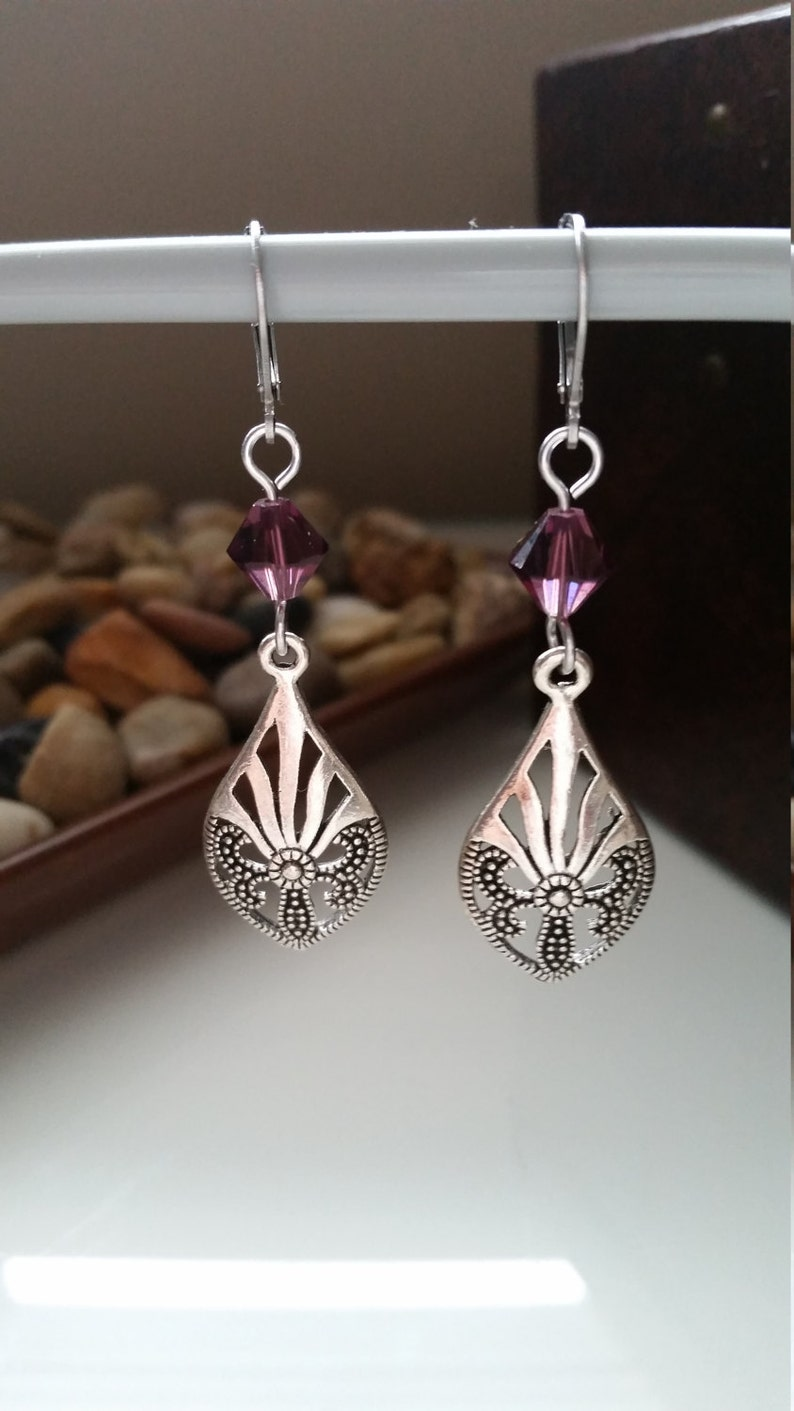 Earrings Prom Lever Back Night Out Formal Light Weight Amethyst Everyday Statement Simple Dangle Drop Charm Teardrop Pendant