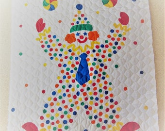 Vintage Baby Cheater Quilt~Clown Around 1984~Gear KIds~ Primary Colors~41 X 33.  New