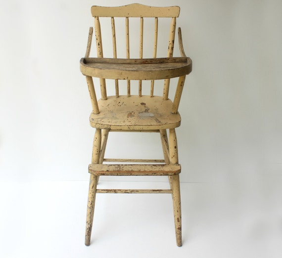 image 0 - Antique High Chair 1920's Yellow Painted Almond Color Etsy