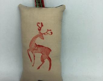 Red Reindeer Christmas Ornament Woodland Forest Deer Stag Santa Claus Sleigh Dancer Prancer Rudolph Comet Cupid Animal
