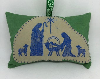 Nativity Holy Family with Lambs Appliquéd Christmas Ornament Christian Bible Joseph Mary Baby Jesus Manger Stable