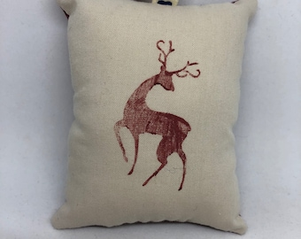 Burgundy Reindeer Christmas Ornament Woodland Forest Deer Stag Santa Claus Sleigh Dancer Prancer Rudolph Comet Cupid Animal