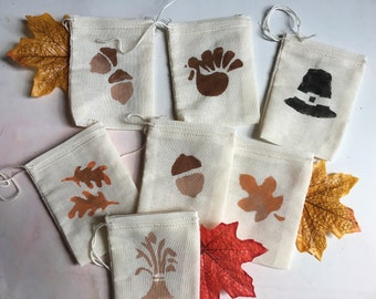 Autumn Group D Gift Bags Muslin available in 4x3, 4x6, & 5x7 Quantity Discount, Great for kids, class, teachers, Sunday school, Thanksgiving