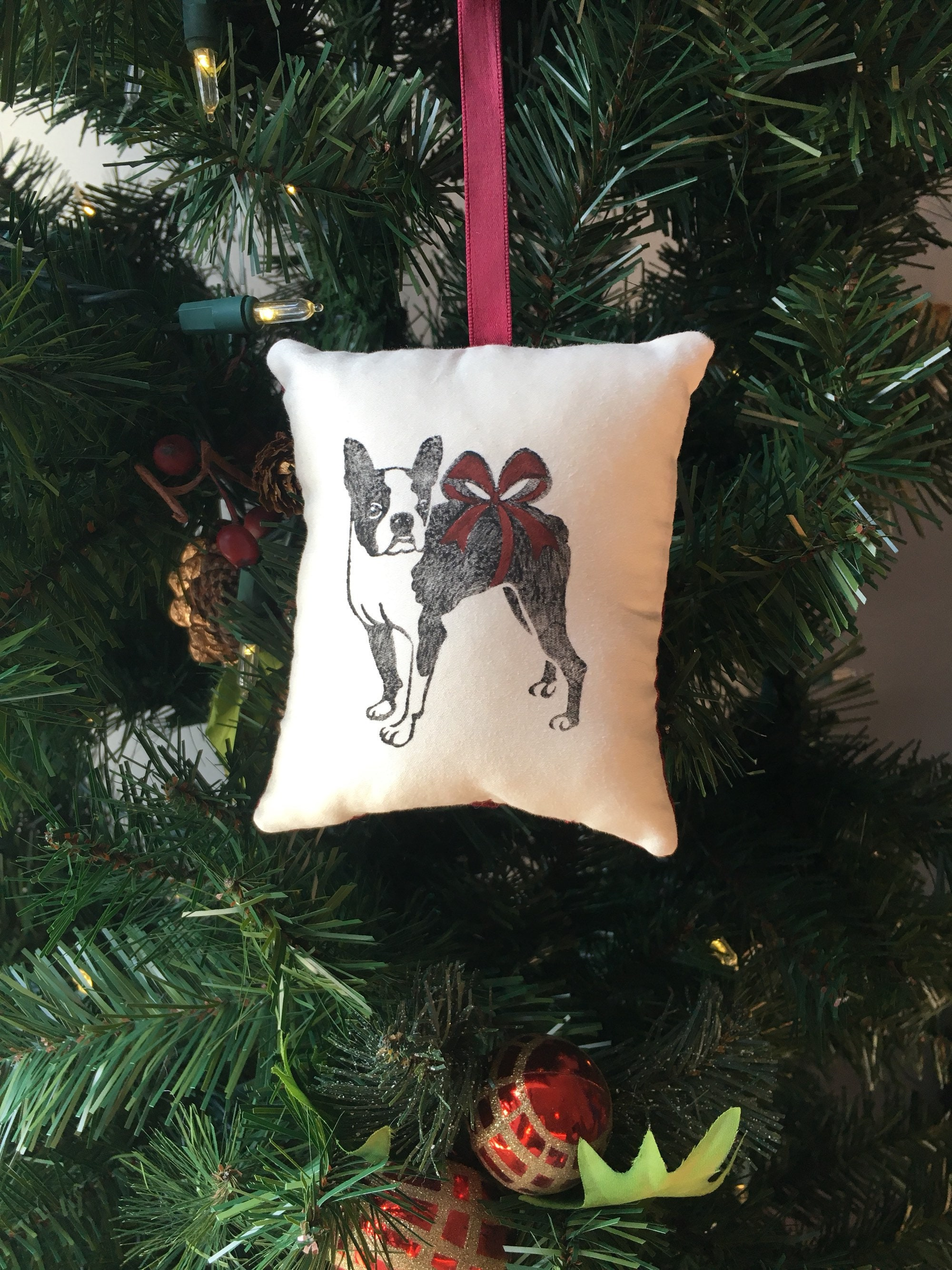 Boston Terrier Dog Christmas Ornament Animal Canine