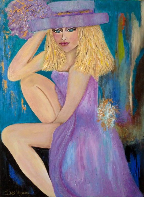 Original Figure Painting 18 24 Canvas Sassy Lady Etsy