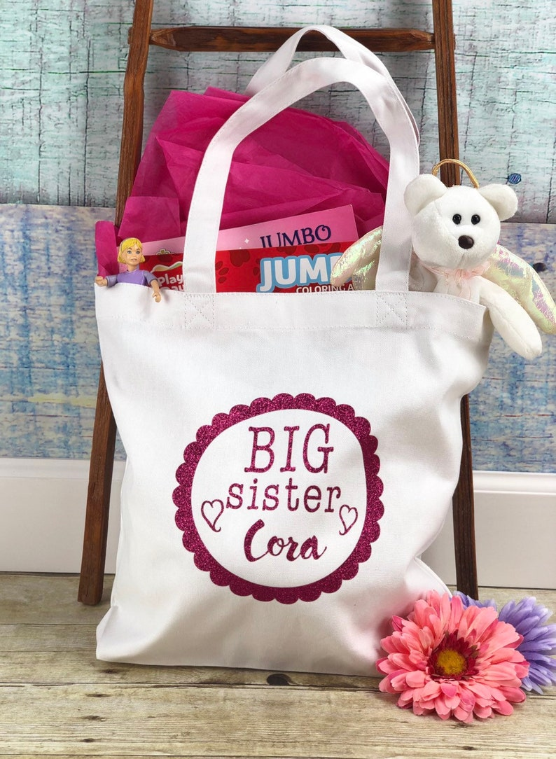 Big Sister Home From the Hospital Canvas Tote BagBig Sister Goodie BagBig Sister Hospital Survivor TotePersonalized