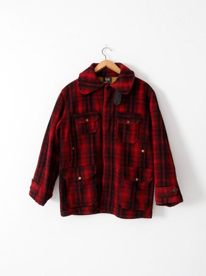 4db65fd85ece6 1950s Woolrich mackinaw coat vintage men's wool red plaid | Etsy