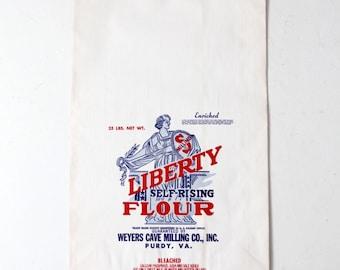 vintage Liberty Flour paper mill bag, 25 lb bag American flour bag