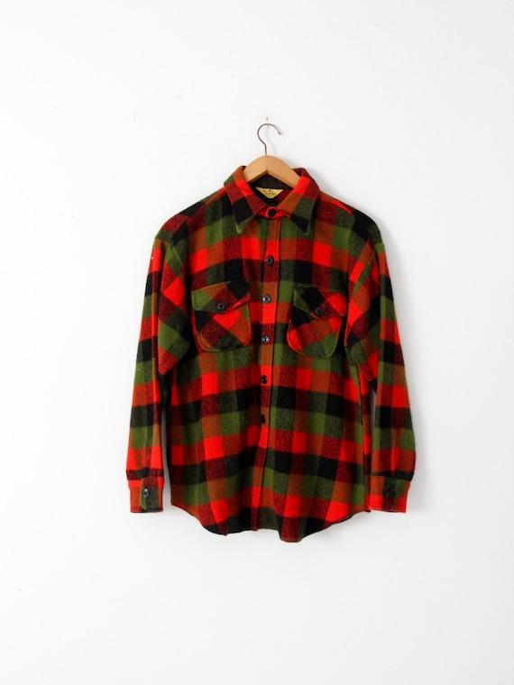 vintage 60s plaid wool shirt jacket by Yorke