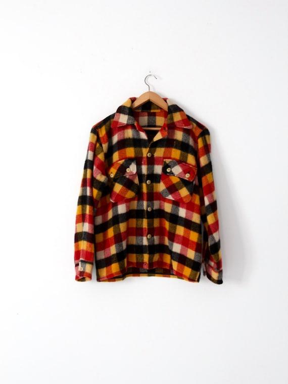 vintage thick wool shirt, plaid shirt jacket