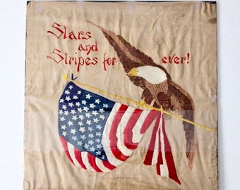 vintage Stars and Stripes embrodiered textile