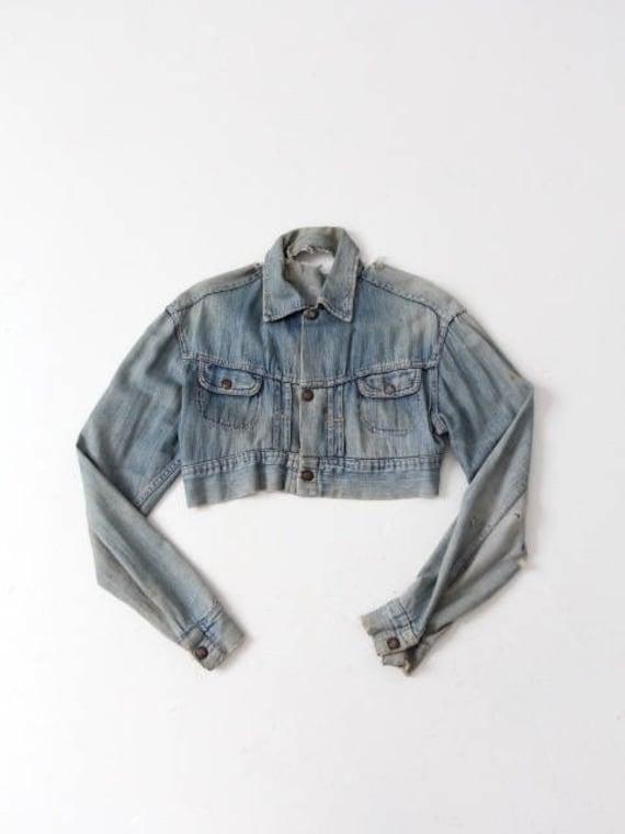 vintage denim jacket, custom cropped women's denim
