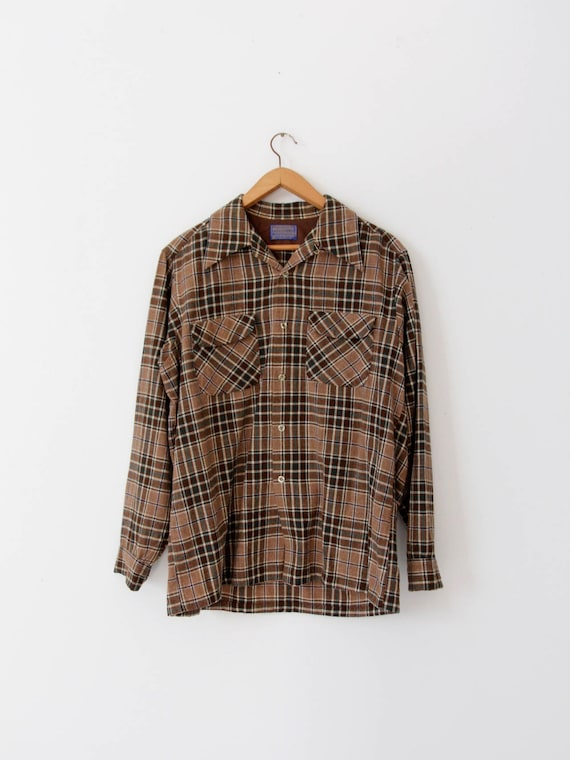 vintage Pendleton plaid shirt, men's flannel shirt