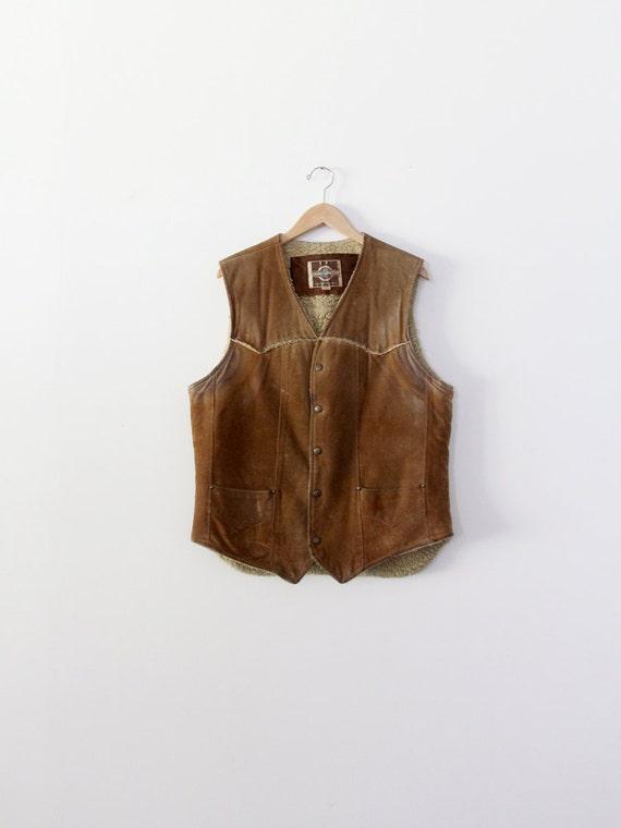vintage men's suede vest,  1970s shearling vest