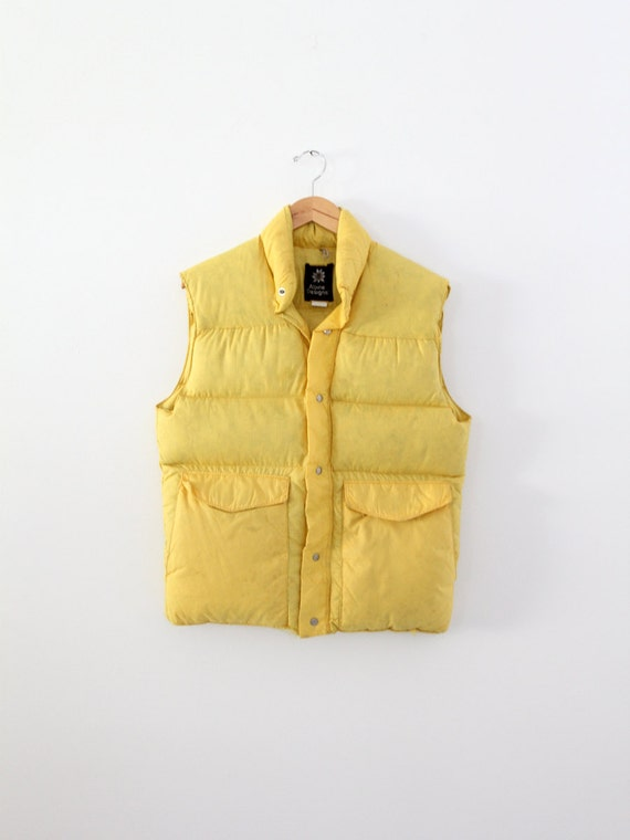 vintage puff vest,  men's camp vest,  yellow ski v