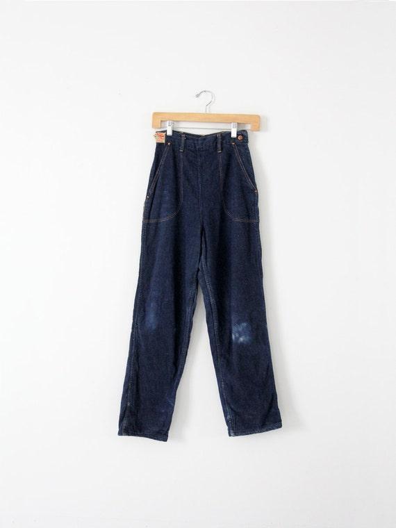 1950s side zip jeans,  flannel lined denim,  Kitt… - image 2