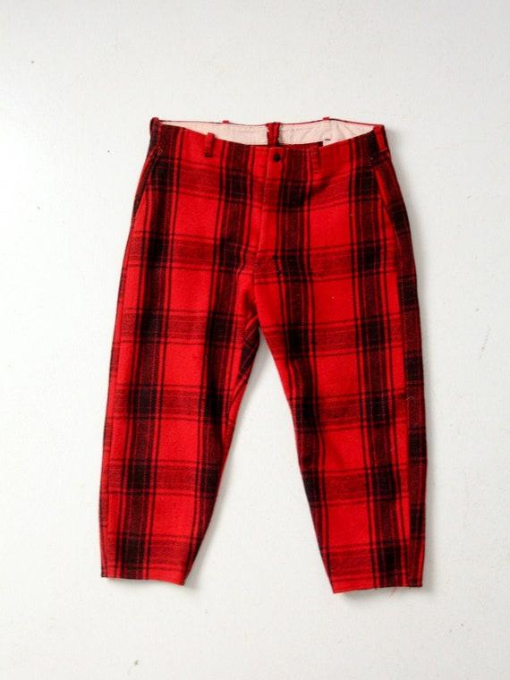 vintage 1940s red plaid wool hunting pants