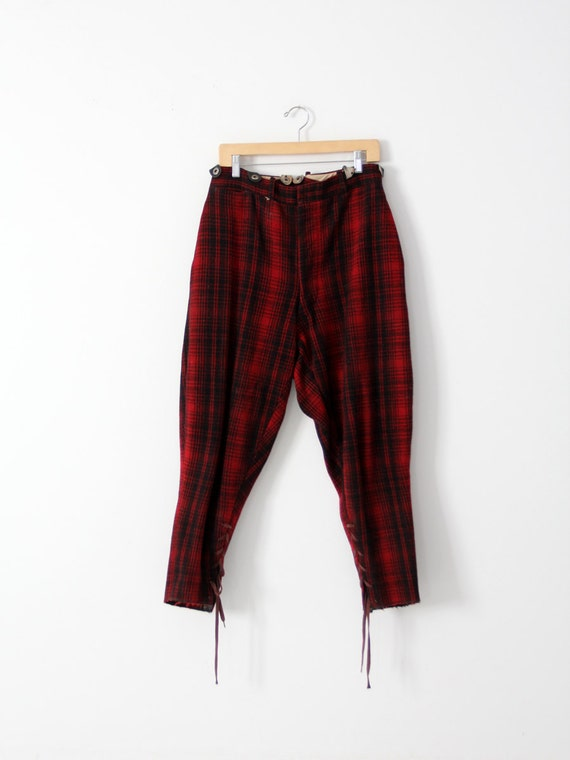 vintage 40s Woolrich hunting pants, red wool plaid