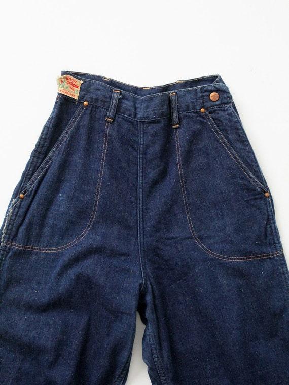 1950s side zip jeans,  flannel lined denim,  Kitt… - image 1