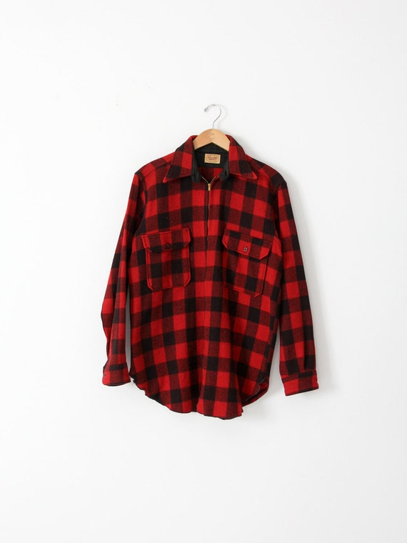 vintage red plaid shirt coat,  1930s hunting jacke