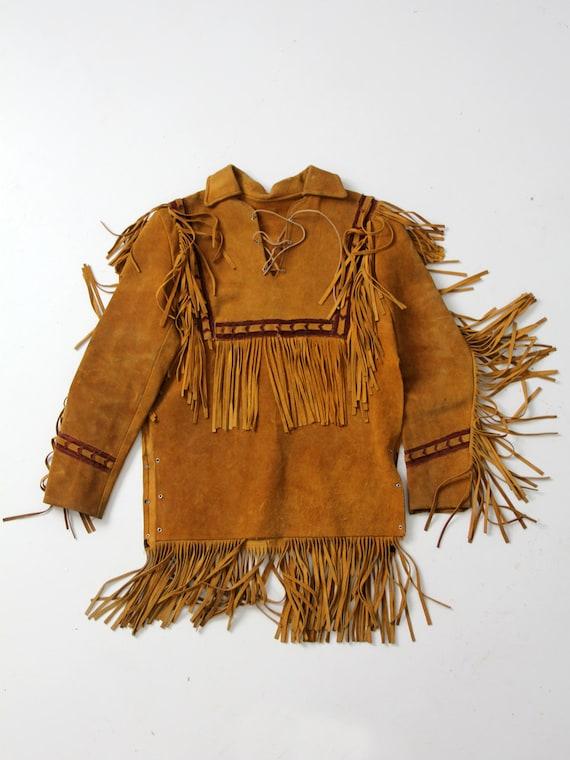 vintage fringe jacket,  men's suede pullover