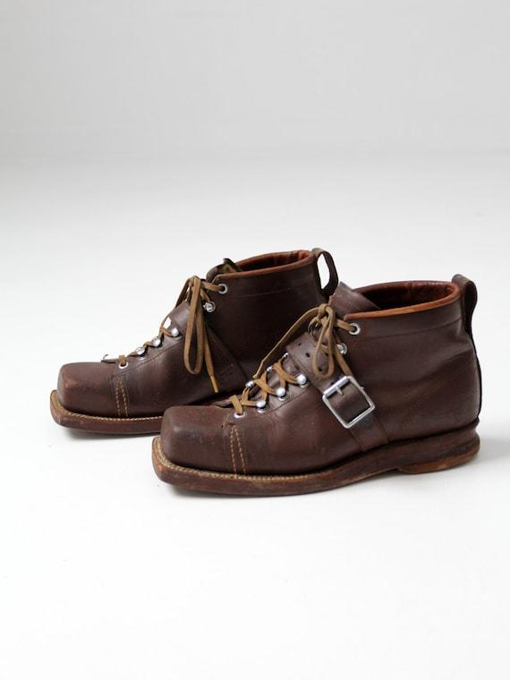 vintage ski boots,  men's square toe leather shoes