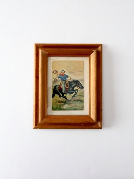 carte postale ancienne cowboy dans cadre racing pour le etsy. Black Bedroom Furniture Sets. Home Design Ideas