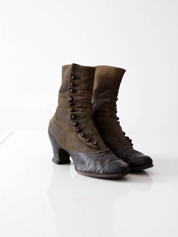 Victorian shoes, antique women's leather boots