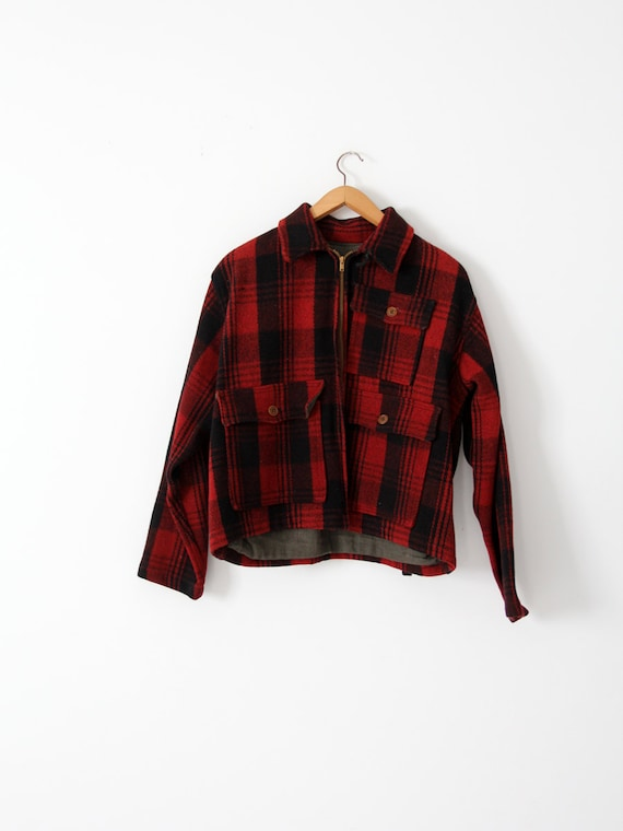 vintage red plaid hunting jacket,  1940s wool coat