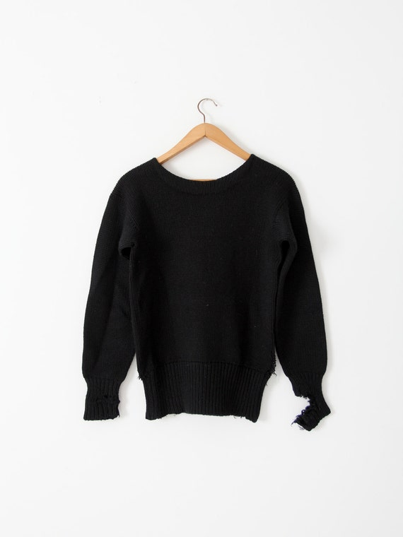 vintage 30s black sweater,  distressed knit pullov