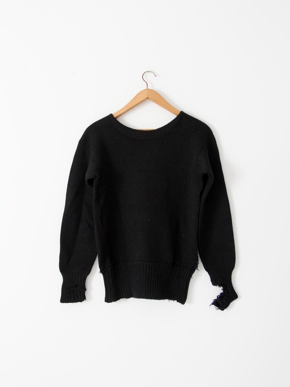 New 1930s Mens Fashion Ties Vintage 30S Black Sweater, Distressed Knit Pullover $0.00 AT vintagedancer.com