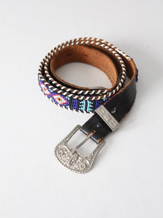 vintage 50s beaded leather belt