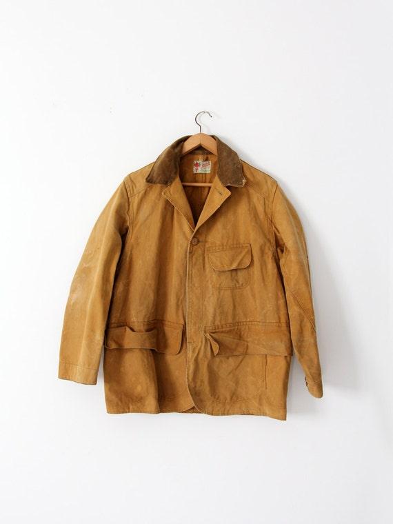 vintage 30s Duxbak coat,  men's canvas hunting coa