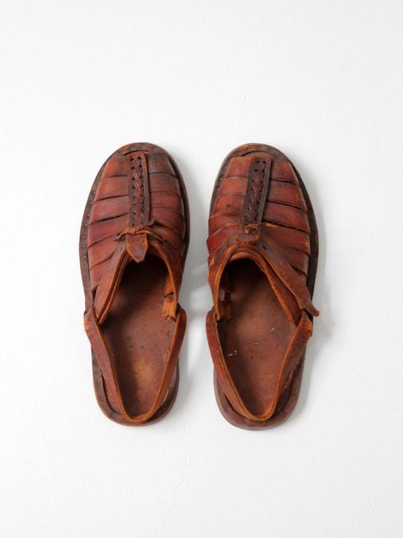 749197a61642e vintage leather sandals, 1970s men's huaraches size 10 - Gem