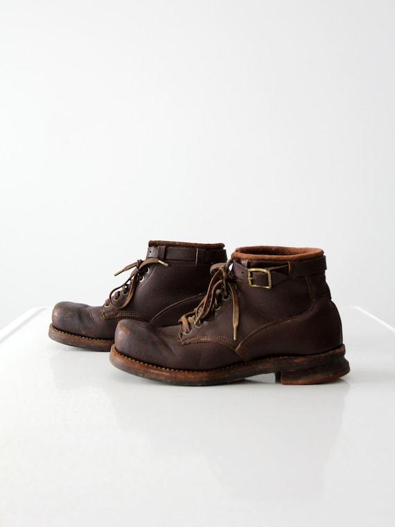 vintage ski boots,  square toe leather shoes,  siz