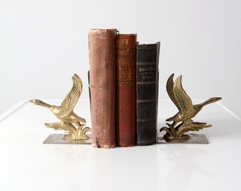 mid-century brass and chrome duck bookends