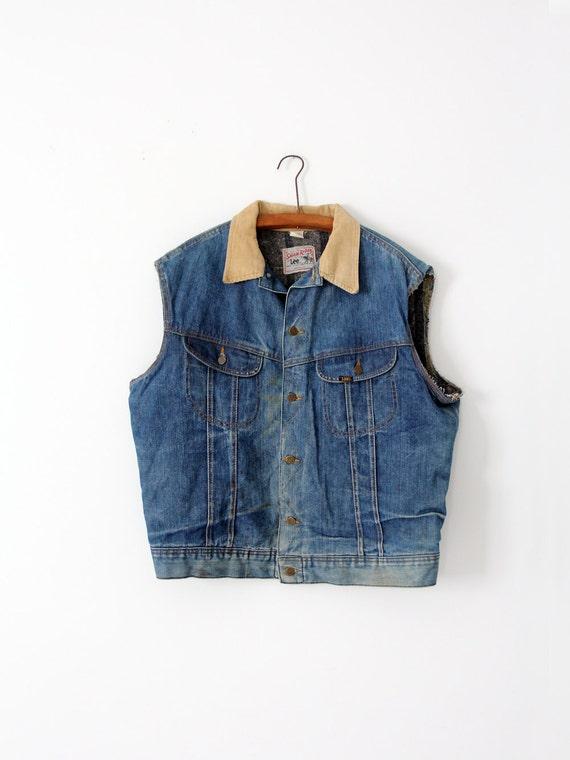 vintage 70s Lee Storm Rider vest,  denim biker ves