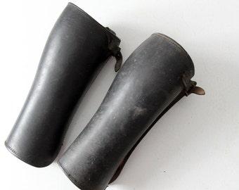 antique leather gaiters,  WWII era cavalry half chaps