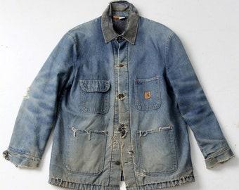 vintage Big Ben distressed denim chore coat, blanket lined barn jacket