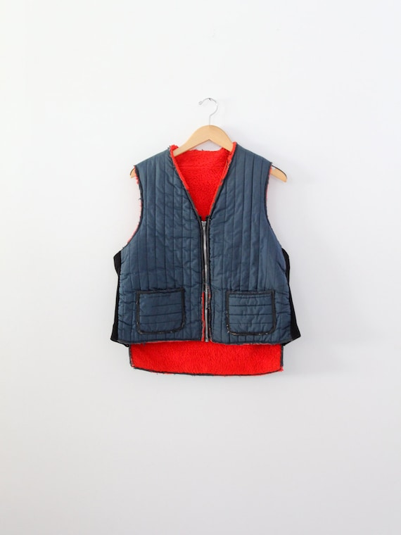 vintage puff vest,  men's camp vest,  fishing vest