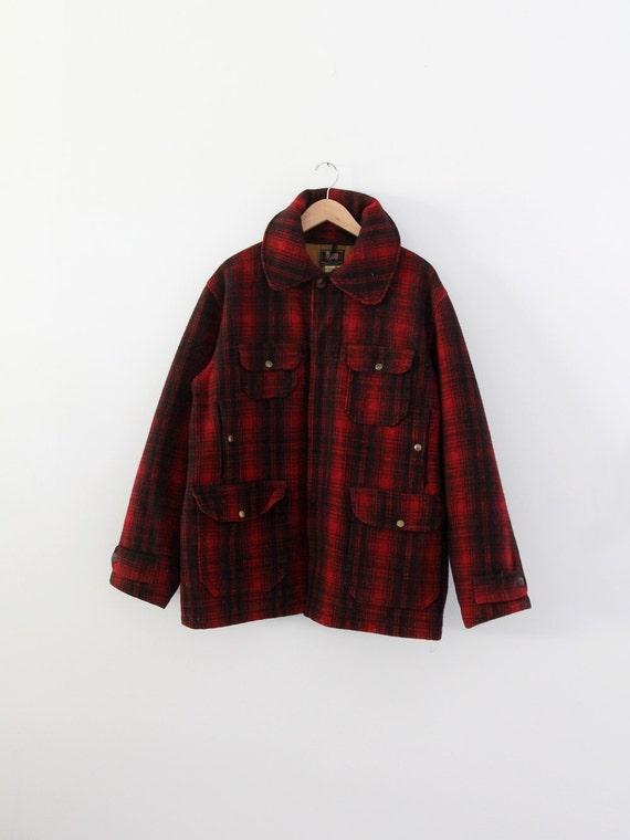 vintage 1940s Woolrich jacket,  red plaid wool jac