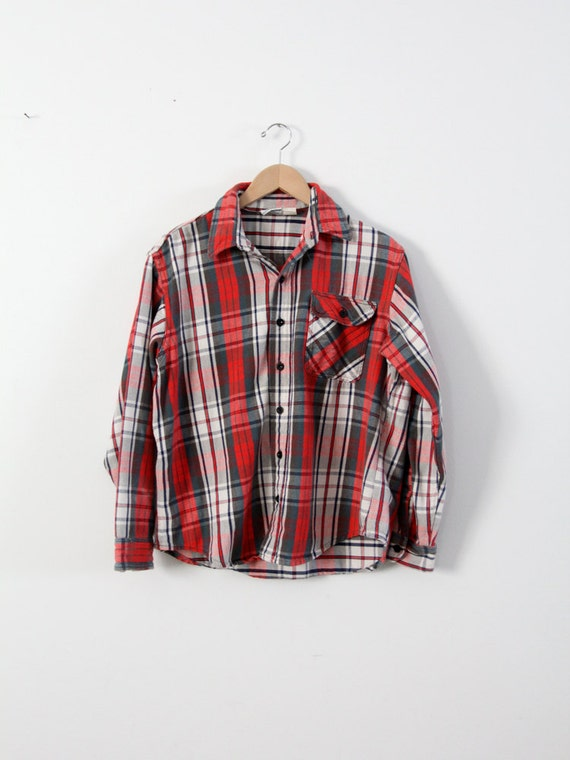vintage plaid shirt,  men's flannel work shirt
