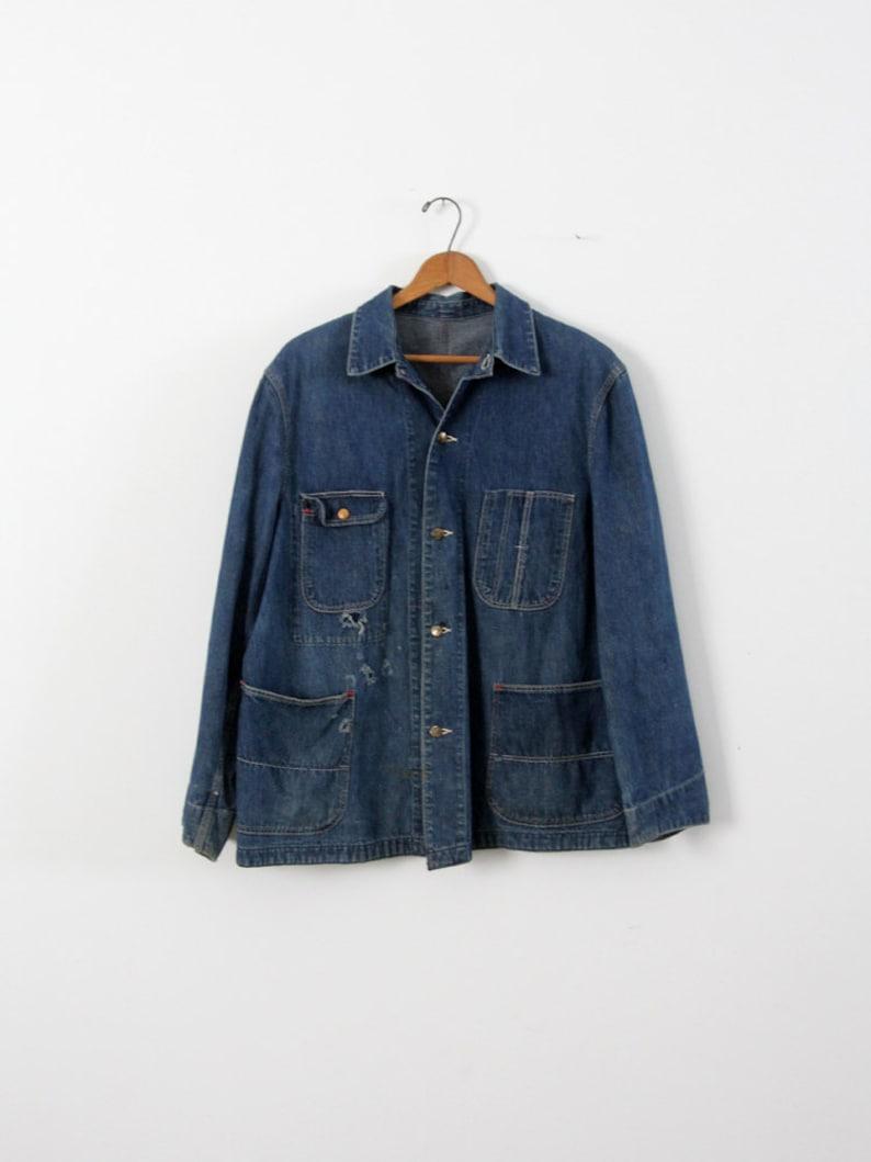 b65995e57ed Vintage Sanforized denim jacket 1940s men's work jacket   Etsy